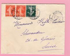 SE-2 Semeuse 10c Rouge +5c  Uzerche 7.2.10    Verso= Schwanden Glarus 8.11.10 - 1906-38 Semeuse Camée