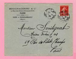 SE-2 Semeuse 10c Rouge II  + Sol Paris-30 Bld Diderot 9.5.06    Verso= 0 - 1906-38 Semeuse Camée