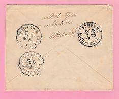 SE-2 Semeuse 10c Rouge Coatreven 28.12.14+Verso= Treguier A Plouec + Lannion A Treguier + Vendôme - 1906-38 Semeuse Camée