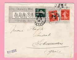 SE-2 Semeuse 10c Rouge +5c Du Carnet Paris 17.9.13  A La Samaritaine   Verso= Schwander GL 18.9..13 - 1906-38 Semeuse Camée
