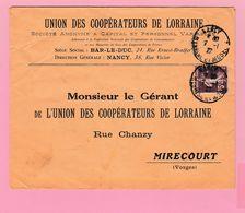 SE-2 Semeuse 15c  Nancy 7.1.27 Union Des Coopérateurs De Lorraine  Verso= 0 - 1906-38 Semeuse Camée