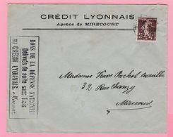 SE-2 Semeuse 15c  Crédit Lyonnais Agence De Mirecourt  27 II 26  Verso= 0 - 1906-38 Semeuse Camée