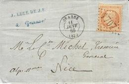 1868 - Lettre De GRASSE ( Var ) Affr. N°31 Oblit . G C 1707  Seul  Pour Nice - Marcophilie (Lettres)
