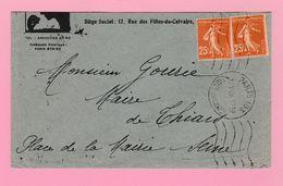 SE-2 Semeuse 25c X2  Paris 103  12.6.36  Lettre Coupée  Verso= Thiais 13.6.36 - 1906-38 Semeuse Camée