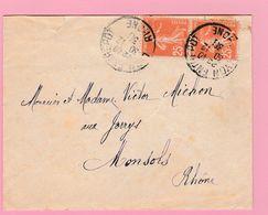 SE-2 Semeuse 25c X2  Lyon Entrepôts  30.12.30  Lettre Coupée  Verso= 0 - 1906-38 Semeuse Camée