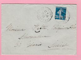 SE-2 Semeuse 25c Bleu IA  Paris XVII 10.12.10  Verso= Schwanden Glarus 12.12.10 - 1906-38 Semeuse Camée