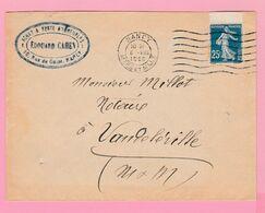 SE-2 Semeuse 25c Bleu  Nancy 5 8.1920   Verso= Vandeville =faible - 1906-38 Semeuse Camée