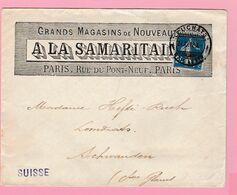SE-2 Semeuse 25c Bleu A La Samaritaine Paris + Cachet SUISSE Neuchâtel 27 12.12  Verso= 0 - 1906-38 Semeuse Camée