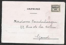 1907 BELGIQUE - IMPRIMÉ PREOBL. 1c BRUXELLES  A GAND  - FOURRURES EN GROS, PHILIPP NORDEN - Roller Precancels 1900-09