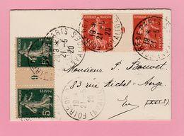 SE-4 Semeuse Milésimes 9 Sur 5c= GC  Et 10c IA  Sur Mignonette  Foire De Paris 21.5.20 Invalides  Verso=0     TB - 1906-38 Semeuse Camée