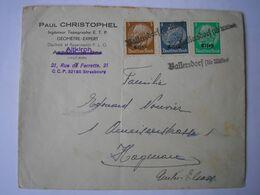 ALSACE - Enveloppe Avec Oblitération Cachet Provisoire Ballersdorf Sur 3 TP D'Alsace - Alsace Lorraine