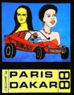 1988 Rallye PARIS DAKAR - Tirage Limité 400 Ex Carte Signée (autographe) Par L'illustrateur Pour JP BOUSQUET - Rallyes