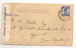 1943 ENVELOPPE BOMBAY A ZURICK SUISSE / DIFFERENTES CENSURES  DHC/336 / PASSED DHC/80 C998 - Inde (...-1947)