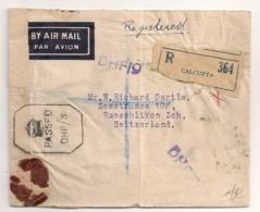 1945 REGISTRED LETTER / CALCUTTA TO  RUESCHLIKON SWITZERLAND  / CENSOR  DHF/3 / RECOMMANDE CENSURE  C999 - Inde (...-1947)