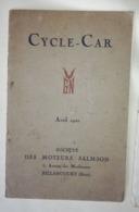 CYCLE CAR GN - SALMSON - Avril 1921 - Auto's