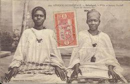 Afrique Occidentale , SENEGAL , Fille Et Femme Ouoloff , Types De Saint Louis , 1914 , CPA ANIMEE - Senegal
