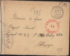 Guerre 39 45 WW2 FM Censure Stalag VIIA 14 Gepruft + Ouvert Par Autorité Militaire UP 51 (Paris) Engenville 15 5 1940 - Guerra De 1939-45
