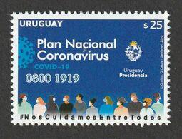 Uruguay 2020 Plan Nacional Coronavirus COVID-19  1 V. MNH - Uruguay