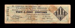 España Billete Local Vilafranca Del Penedes Barcelona 25 Céntimos 1937 BC- F - Spagna