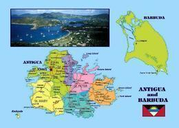 Antigua And Barbuda Country Map New Postcard Landkarte AK - Antigua & Barbuda