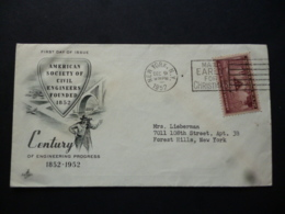 USA FDC AMERICAN SOCIETY OF CIVIL ENGINEER CENTANARY POSTMARK NEW YORK 1952 - Sin Clasificación
