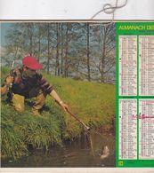 Almanach Du Facteur, Calendrier De La Poste, 1980, Côte D'Or, Pêcheurs Avec Leur Capture - Kalender