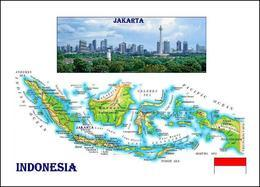 Indonesia Country Map New Postcard Indonesien Landkarte AK - Maps