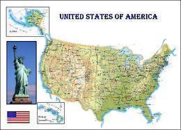 United States Country Map New Postcard Vereinigte Staaten Landkarte AK - Maps