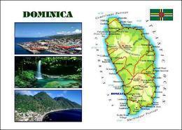 Dominica Country Map New Postcard Landkarte AK - Landkaarten