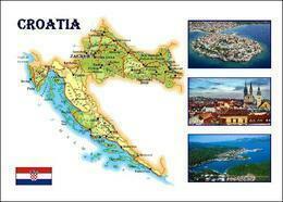 Croatia Country Map New Postcard Kroatien Landkarte AK - Maps