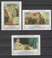 St. Vincent 1993 Nude Paintings Louvre, Chasseriau, Delacroix, Ingres 3 S/s MNH - Nudes