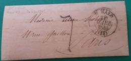 LAC De Saint Malo Type 13 Taxe 7 Décimes  Du 20/03/1845 à Paris. Au Verso Arrivée Paris Cad Bleu Faible - Marcophilie (Lettres)