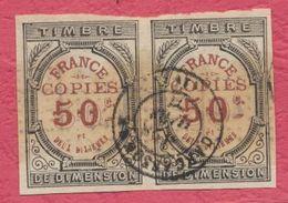 """France FISCAUX - 2 Timbres Dimension """" France COPIES 50 C Et Deux Dixièmes ( 2/10 ) """" Cachet Bien Frappé De Carcassonne - Fiscaux"""