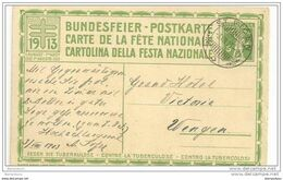 117 - 72 - Entier Fête Nationale 1913 - 3.8.1913 - Superbe Cachet De St Fiden - Enteros Postales