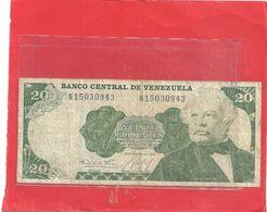 BANCO CENTRAL DE VENEZUELA . 20 BOLIVARES . 25-09-1984 . N° 15030943 . BILLET USITE  . 2 SCANES - Venezuela