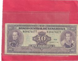 BANCO CENTRAL DE VENEZUELA . 10 BOLIVARES . 8-12-1992 . N° 48474477 . BILLET USITE  . 2 SCANES - Venezuela