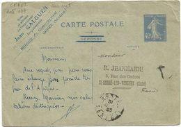 ENTIER 40C BLEU SEMEUSE CARTE REPONSE SEULE GOREE SENEGAL 31.OCT 1933 POUR AUBE RARE - 1906-38 Semeuse Camée