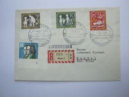 1959 , 3 Werte Gebrüder Grimm ,mit Formnummer , Insges. 4 Eckrandstücke - [7] Federal Republic