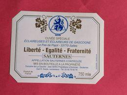 SAUTERNES  ETIQUETTE CUVEE SPECIALE ECLAIREUSES ET ECLAIREURS DE GASCOGNE NON MILLESIMEE    15/08/20/ - Bordeaux