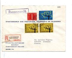 PAYS BAS AFFRANCHISSEMENT COMPOSE SUR LETTRE RECOMMANDEE POUR LA FRANCE 1962 - Period 1949-1980 (Juliana)