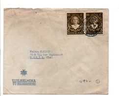 PAYS BAS AFFRANCHISSEMENT COMPOSE SUR LETTRE POUR LA FRANCE 1922 - 1891-1948 (Wilhelmine)