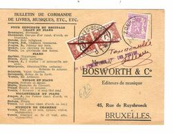 REF1609/ TP 422 S/CP Bulletin Commande Livres Musiques Etc..c.Zonhoven 28/11/48 > BXL Taxée 1,40 TTx 41 C.BXL 29/11/48 - Portomarken