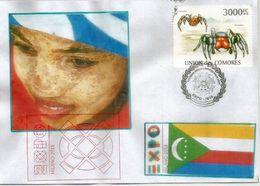 Timbre îles Comores: Araignées Mygalomorphes, Sur Lettre Du Pavillon Des Comores à L'Expo Universelle Milano 2015 - Comores (1975-...)