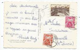 TAXE 10FR+5FR BONNEVILLE HAUTE SAVOIE 1958 SUR 10FR ELYSEE SEUL SUR CARTE GOLFE JUAN - Storia Postale