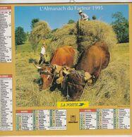 Almanach Du Facteur, Calendrier De La Poste,1995, COTE D'OR, Récolte Du Foin Avec Les Boeufs , Labour Avec Les Chevaux - Big : 1991-00