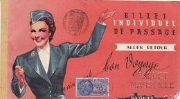 COMPAGNIE PAQUET / BILLET INDIVIDUEL DE PASSAGE / ALLER RETOUR 1960 / MARSEILLE DAKAR 4 E CLASSE / TIMBRE FISCAL - Carte D'imbarco Di Navi