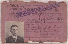 PERMIS DE CONDUIRE 1940 / MARSEILLE / PORT VERRES CORRECTEURS OBLIGATOIRE - Billetes De Transporte