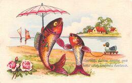 Souriez Faites Comme Eux Vous Serez Toujours Heureux - Poissons - Canard - Parapluie - Dressed Animals