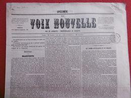 JOURNAL SPÉCIMEN LA VOIX NOUVELLE FOI ET LIBERTÉ INDÉPENDANCE ET PROBITÉ 1846 TIMBRE ROYAL   RRRRRRRRRR - Zeitungen
