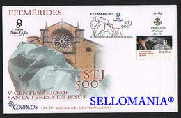 2015 V CENTENARIO SANTA TERESA DE JESUS EDIFIL 4930 SPD FDC GIAN BERNINI TC20545 - FDC